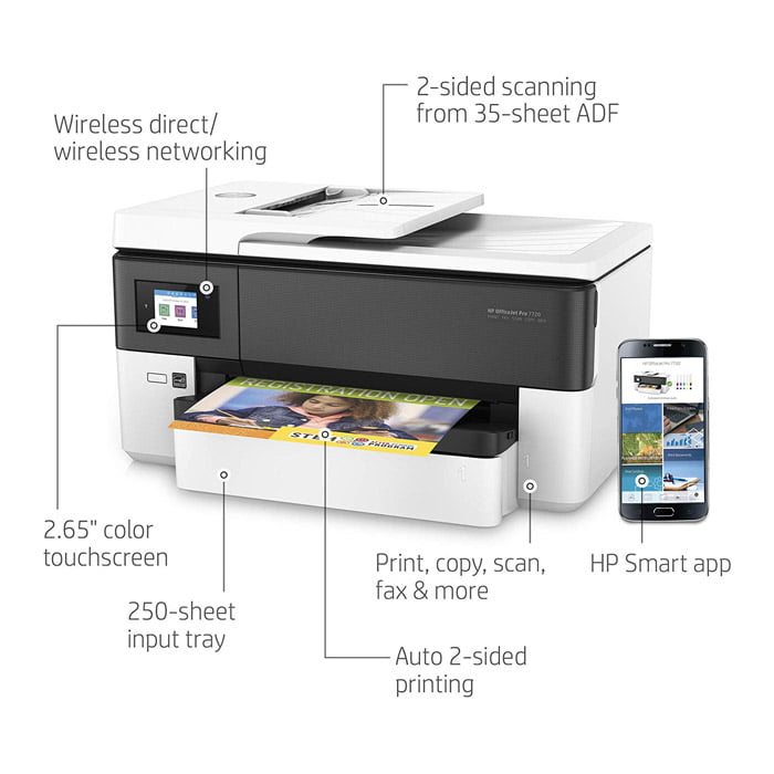 HP White OfficeJet Pro 7720 Wireless All-In-One Printer
