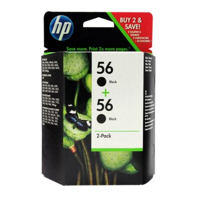 HP 56 Black Original Ink (C9502AE) 2 Pack