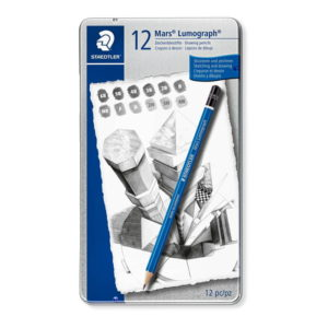Staedtler Metal Case Containing 12 Pack Drawing Pencils in Assorted Degrees