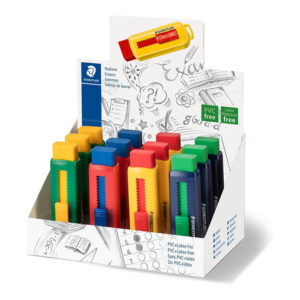 Staedtler (525 PS1) Eraser with Sliding Plastic Sleeves – Assorted Colors 12 Pack