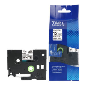 TZE-231 Compatible P-Touch Black on White Laminated Tape for Brother – 12mm x 8m